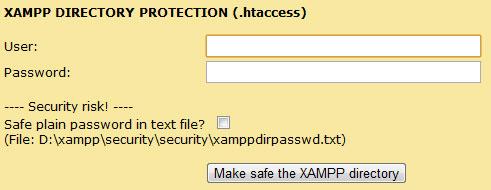 Ange användare och lösenord för XAMPP