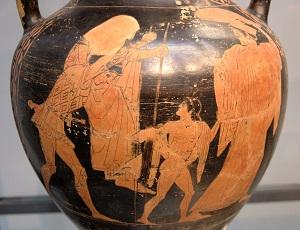 Grekisk amfora med Aeneas, bärande på sin far Anchises från det brinnande Troja, tillsammans med sonen Iulus och sin fru