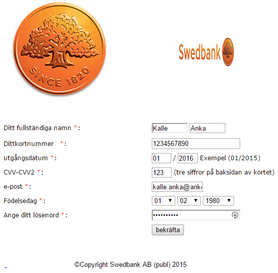 Sidan som försöker utge sig för att vara Swedbanks hemsida