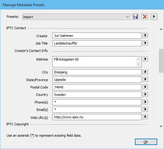 Redigera standardinställningar för metadata