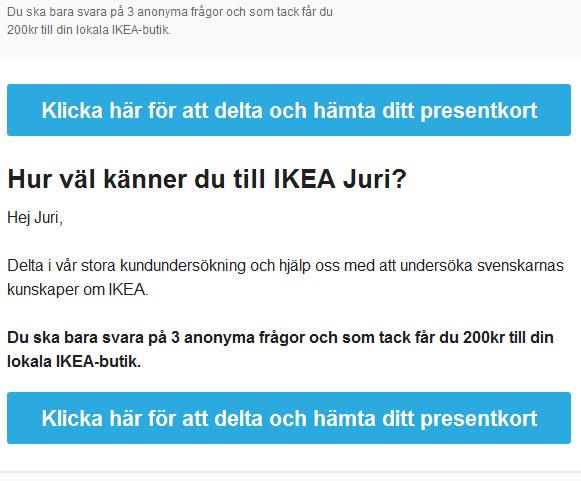 Lurendrejerimail som utger sig för att handla om en kundundersökning gällande IKEA